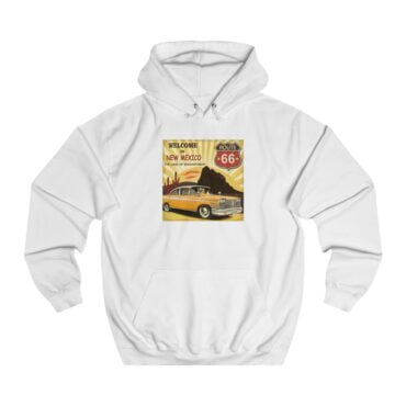 Unisex College Hoodie: New Mexico Route 66 Dame