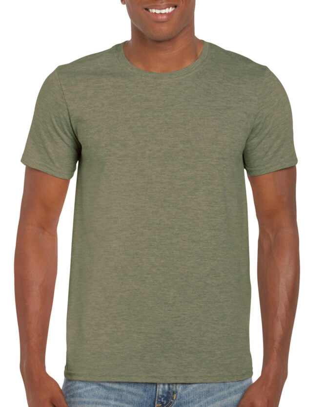 64000 Adult T Shirt Heather Military Green