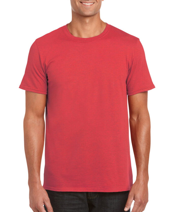 64000 Adult T Shirt Heather Red